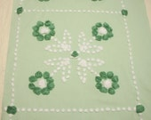54 x 17 Inches - Green and White Hand Tufted Popcorn Flowers Vintage Chenille Bedspread Fabric Piece, 4 Blocks for Pillows or Runner