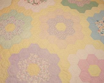 Yellow Grandmother's Flower Garden Vintage Quilt Piece