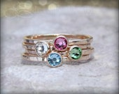 1 GOLD BIRTHSTONE STACKING ring - Crystal Stacking Ring - choose your birthstone - stacking rings, stackable rings, gemstone stacking ring