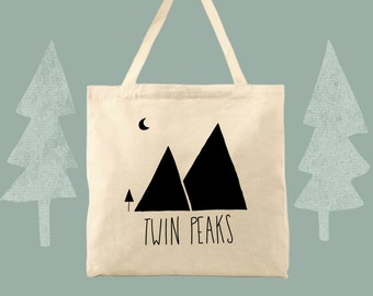 dual peaks twin peaks themed cotton canvas tote