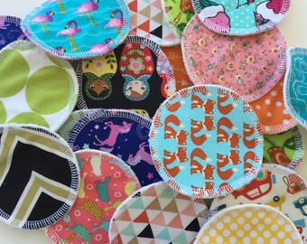 "Reusable 3"" Facial Rounds Set of 10 Random Prints Choose Terry or Fleece"