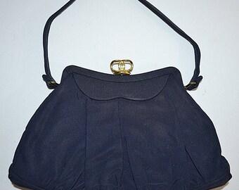 Vintage 1940s Small Navy Blue Handbag
