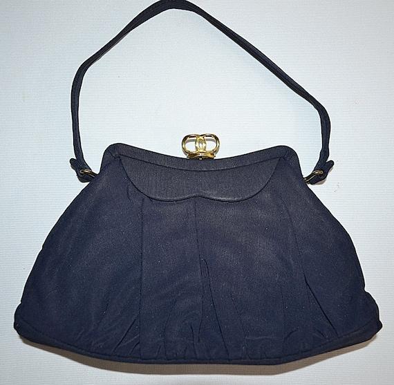 SALE Thru July Vintage 1940s Small Navy Blue Handbag
