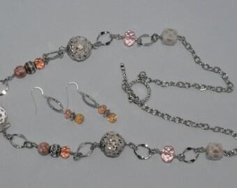 Pale Pink & Beige Long necklace set