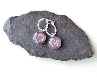 Purple & Gold Hoop Earrings, Charm Earrings, Purple Earrings, Resin Jewellery, Purple Jewellery, Charm Jewellery, UK, 2263