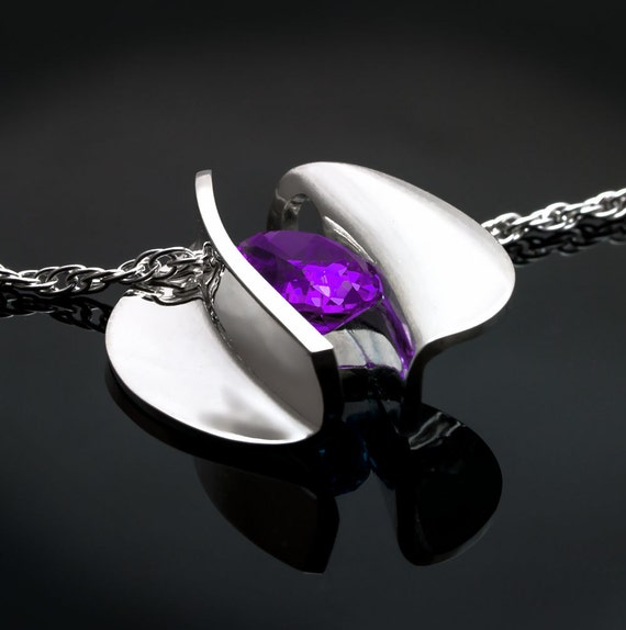amethyst necklace, statement necklace, cutting edge jewelry, February birthstone, Christmas gift, purple gemstone, Argentium silver - 3490