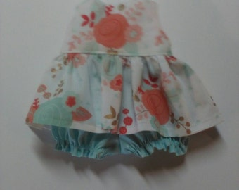 "Baby Alive  And Waldorf Doll Clothes Shabby Chic Adorable Dress 10"" 12"" 14"" Or 15"" Coral and Mint Floral"