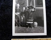 """Vintage Forties Halloween Photo   2 1/2"""" x 3 1/2""""  Carved Pumpkins Children Scary Witch"""