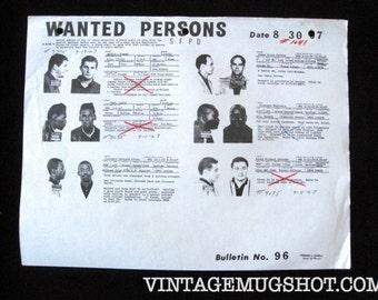 Police Bulletin No. 96 San Francisco Police Department SFPD Wanted Mug Shots 1967 Escapee and Attempted Murder