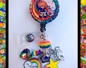 "Badge Reel Accessory ""Rainbow Brite and Sprite"" Bottle Cap Retractable ID Name Tag, Unique Gifts, 80's Cartoon Accessories, Gifts for Her"