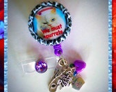 "Nurse Badge Reel Accessory ""Grumpy Cat We Must Opurrate"" Bottle Cap Retractable ID Name Tag, Funny Medical Accessories, Unique Nursing Gifts"