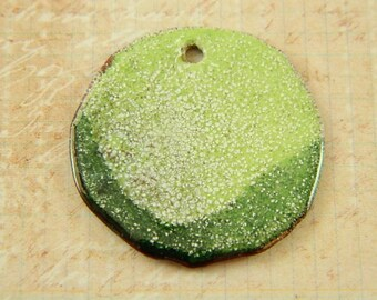 Light and Dark Green Large Torch Enameled Pendant