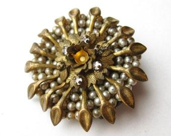 Vintage 40s Miriam Haskell Gold Baroque Pearl Rhinestone Designer Brooch Pin