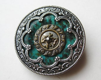 Vintage Grandmother's Buttons SIlver & Turquoise Designer Brooch Pin
