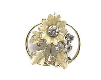 vintage rhinestone flower brooch, gold tone, circle pin, wedding bouquet, bridal