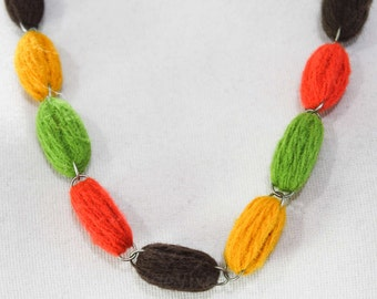 1960s Yarn Necklace - Handmade Beads - Cute and Crafty 60s Artisan Jewelry - Kitsch 60's Design - Burnt Orange - Avocado Green - 46140