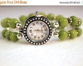 ON SALE Ladies Watch, Silver Watch, Green Watch, Crystal Watch