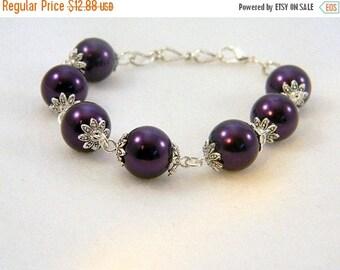 ON SALE Bracelet, Purple Pearls, Purple Bracelet, Purple Pearl Bracelet, Beaded Bracelet