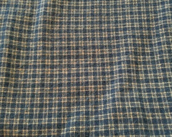 Blue Plaid Cotton Flannel Fabric 2 3/4 Yards X0604