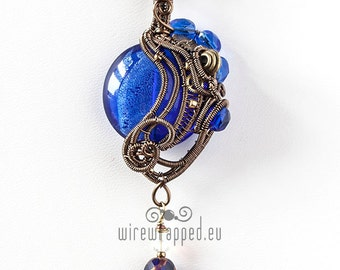 OOAK Blue and steampunk wire wrapped pendant