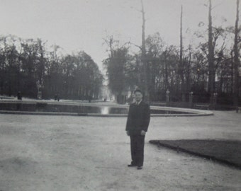 Vintage Photo - Man Stood in Large Public Garden