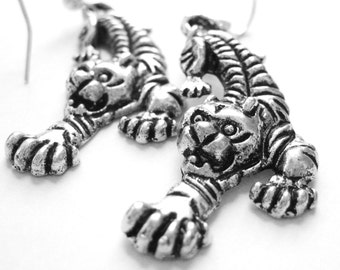 Sterling Silver Tiger Earrings - Tiger Jewelry -African Jewelry - Ethnic Jewelry - Sexy Earrings African Earrings Exotic Animal Earrings 173
