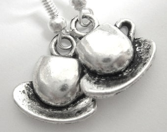 Tea Cup Silver Charm Earrings 203