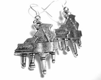 Silver Piano Earrings - Baby Grand Piano Jewelry Music Earrings Teacher Gift