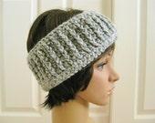Grey Crocheted Earwarmer-Gray Crochet Head Band-Gray Head Band-Crochet Headband-Gray Earwarmer-Crochet Ear Warmer-Unisex Ear Warmer
