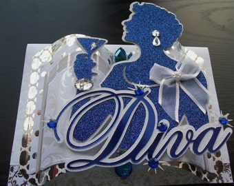 Diva - Lady Holding Martini Glass 3D Embellished Greeting Card - Blue and White - Crafted by Hand