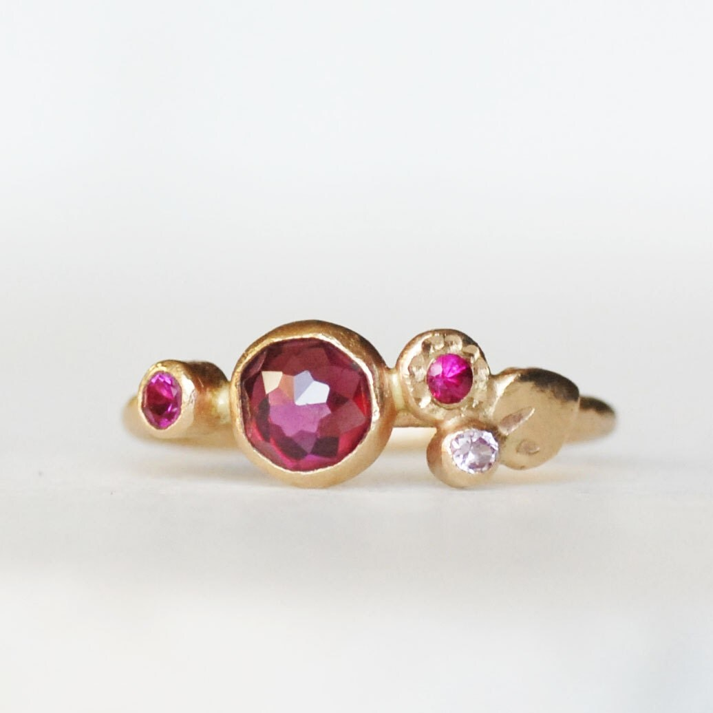 Garnet Ring Bands: Ruby Sapphire Garnet Petal Ring 14k Bloom Engagement Band