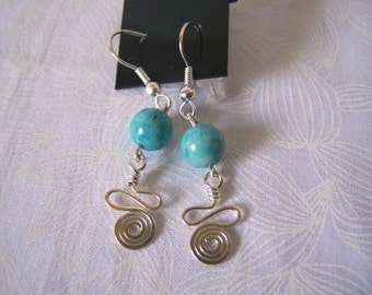 Earrings Turquoise Dyed Riverstone