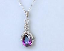 Amethyst Crystal Necklace, Purple Crystal Bridal Necklace, Wedding Necklace, Amethyst Bridesmaids Necklace,  RIBBON TWIRL