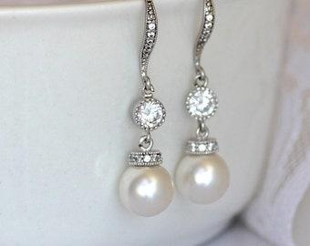 Pearl Drop Earrings, Ivory Pearl Bridal Earrings, Swarovski Pearl and Crystal Wedding Earrings, SISSY