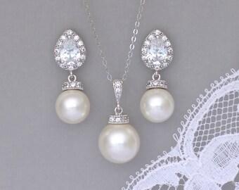 Ivory Pearl Jewelry Set,  Pearl Bridal Set, Ivory Bridesmaids Jewelry Set, Pearl Wedding Jewelry Set, SISSY 3