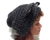 Black and Grey Cat Hat Slouchy Cat Beanie Black Kitty Ears Beanie Novelty Hat Silly Beanie Grey Cat Cosplay