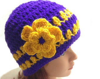 Purple and Gold Hat, Flower Hat, Womens Crochet Hat, Flower Cloche, Crochet Beanie, Womens Hat, Purple and Gold