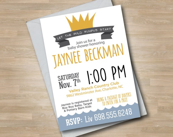 where the wild things are baby shower invitation wild things, Baby shower invitations