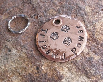 Tripawd Three Paw Copper Charm, Custom