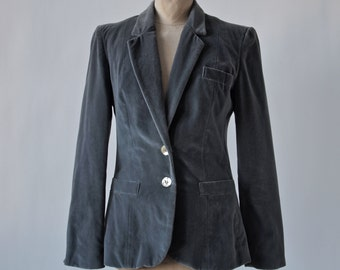 Vintage Gray Velvet Jacket Blazer Lorch Cotton de Ball Velvet size Medium 1970's Victorian Style