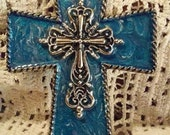 Royal Blue and Silver Swirled Saddle Cross