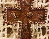 Coppery Leaves On Sparkling Brown Copper Cross or Pendant