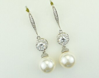 Bridal Earrings, cubic Zirconia Crystals, Swarovski Peals, Silver Tone, Maria Earrings - Will Ship in 1-3 Business Days