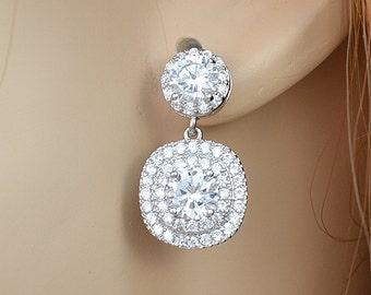 Cubic Zirconia Crystal Earrings, Square Pendants, Stud Earrings, Silver or Rose Gold Tone, Celia Earrings - Will Ship in 1-3 Business Days
