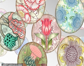 Printable  Floral Art Nouveau Cabochons 30 X 40mm Ovals  Pendants Bezels Scrapbook Digital Printable Collage Sheet Instant Download CS 451