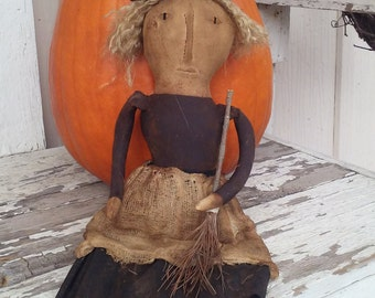 Witch doll primitive handmade Halloween