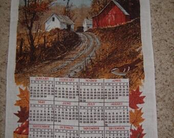 Linen Souvenir  1980 Calendar Tea Towel