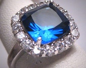 Vintage Sapphire Diamond Wedding Ring Retro Art Deco Estate