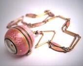 Antique Guilloche Enamel Watch Chain Pendant Necklace Art Deco c.1920