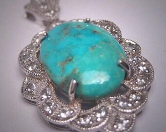 Antique Style Vintage Turquoise White Sapphire Pendant Necklace Victorian Art Deco Drop